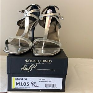 Donald Pliner strapping, silver heels!